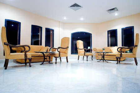 Interior: Armchairs in hotel Stock Photo