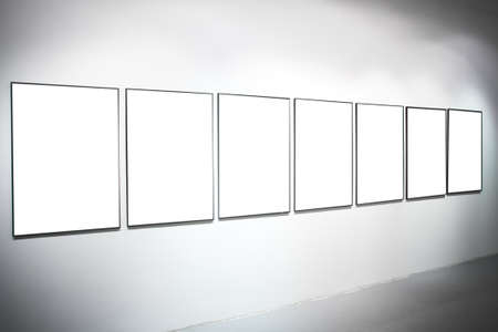 Seven white empty large banners on exposition photo