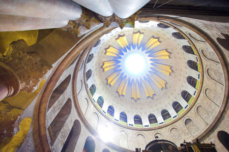 easter candle is burning: Dome in the church of the Holy Sepulchre, Jerusalem, Israel Editorial