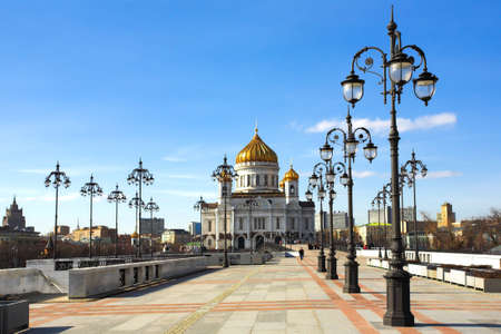 Cathedral of Christ the Savior and lampposts, Moscow, Russia photo