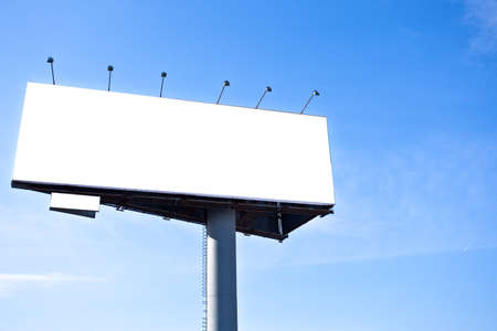 ad: Blank big billboard over blue sky, put your text here Stock Photo