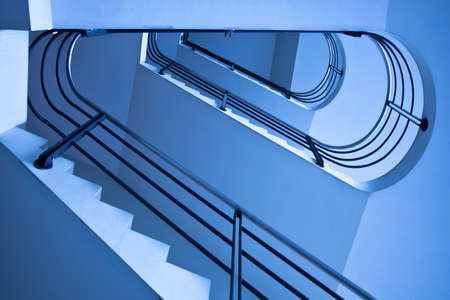 Blue staircase in office centre photo