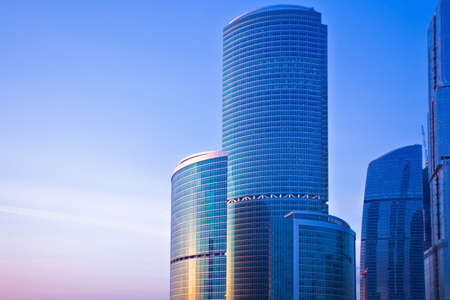 Blue modern skyscrapers in business centre in Moscow, Russia
