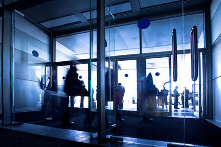 Doors in office center, crowd departure Stock Photo - 4711379
