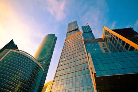 business centre: Modern skyscrapers in business centre in Moscow on sunset, Russia