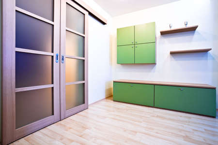 Emty hall with doors and green bookcases Stock Photo - 4762735
