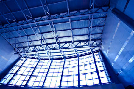 Wide blue perspective ceiling in hall Stock Photo - 4805843