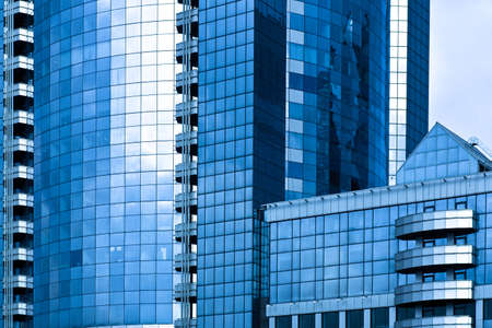 erect: Blue-grey skyscrapers business centre crop