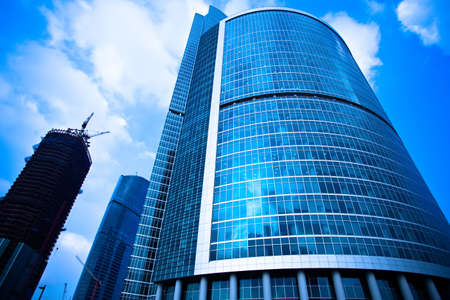 Skyscrapers business centre constructions in Moscow, Russia photo