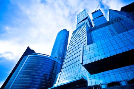 Dark blue skyscrapers in business centre photo