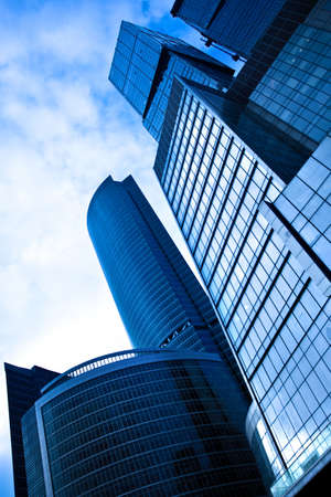 skyscraper skyscrapers: Blue skyscrapers business centre diagonal in Moscow, Russia Stock Photo