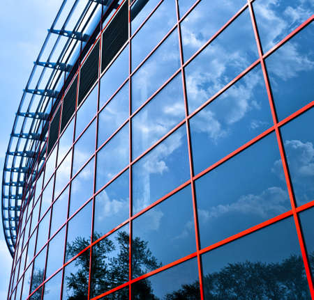 glass block:   New business center windows reflictions, square composition