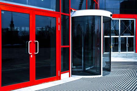 Orange doors in modern office