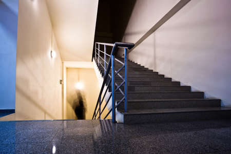 Empty violet staircase in office photo