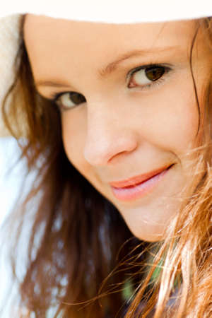 Smiling teen portrait closeup photo