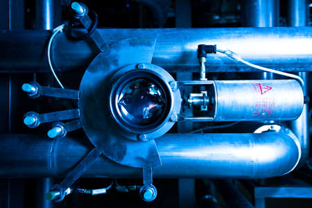 Close-up of tubes and equipment of brewer's plant providing beer in Russia Stock Photo - 5413940