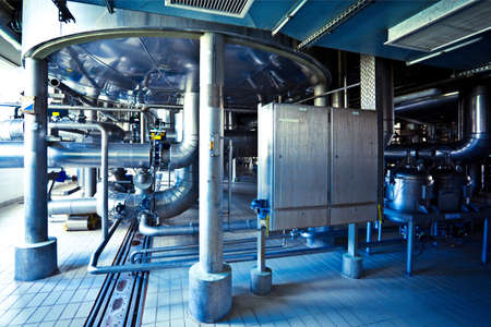 fermentation: On the territory of brewers plant in Russia, view to steel equipment  Stock Photo