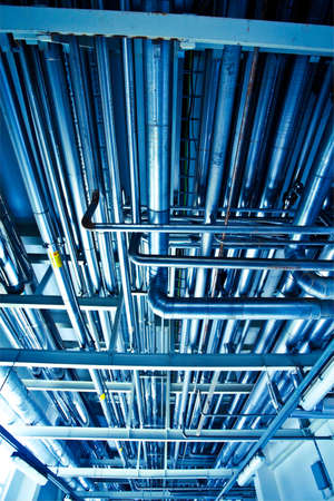 On the territory of brewer's plant in Russia, view to steel equipment on ceiling Stock Photo - 5449144