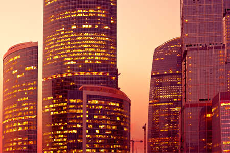 Sunset light on modern skyscrapers at evening Stock Photo - 5492406