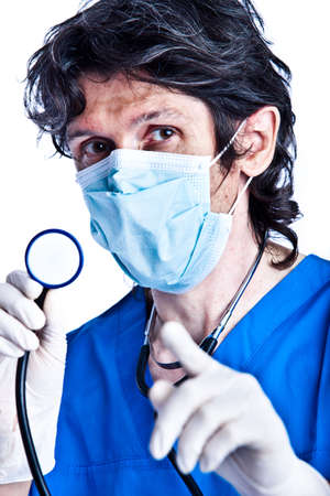 The portrait of adult man - doctor with stethoscope on his hands photo