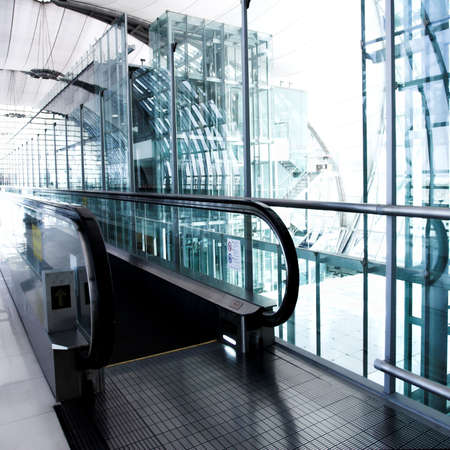 Enter to escalator inside modern hall photo