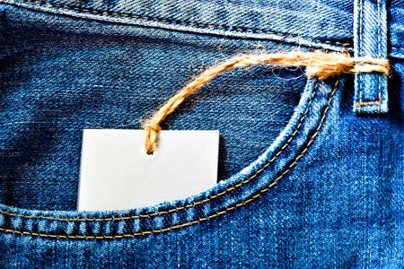 Jeans pocket with blank label in it photo