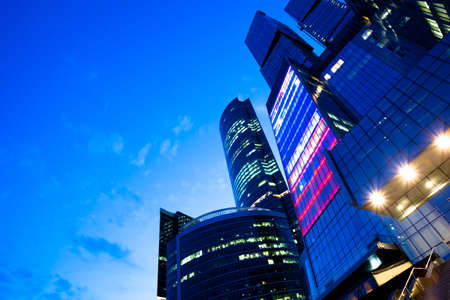 Diagonal view to business center at the end of hard working day Stock Photo - 5855028