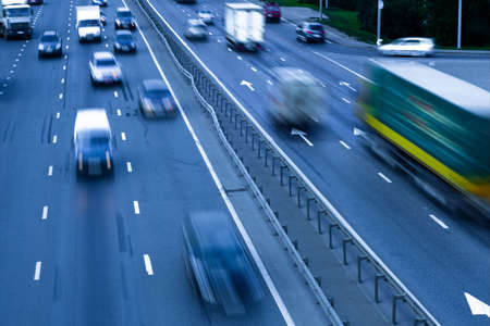 blurs: Traffic jam with autos on the road  Stock Photo