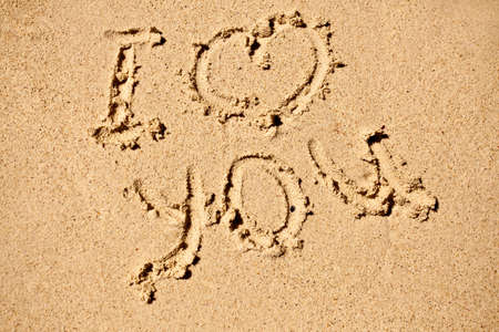 I love you sign on sand beach Stock Photo - 5989841