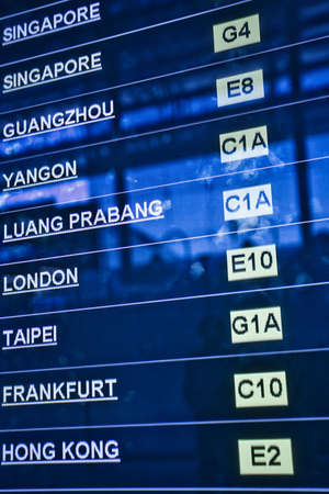 Airport departure board, list of city names