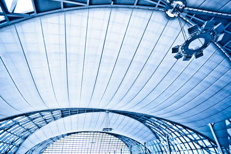 international business center: Abstract blue wide ceiling interior background