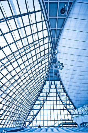 Abstract blue ceiling interior background, vertical composition Stock Photo - 5989630