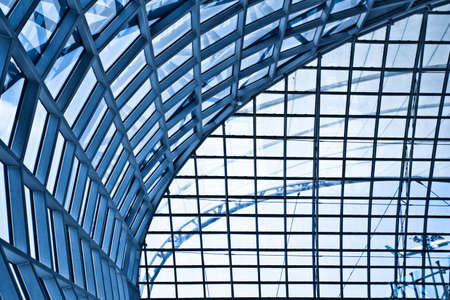 Abstract blue ceiling interior background, left composition photo