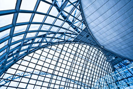 Abstract wide blue airport ceiling interior background Stock Photo - 5989633