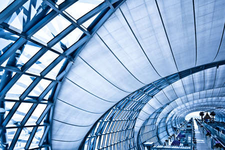 Abstract blue corridor, horizontal left composition