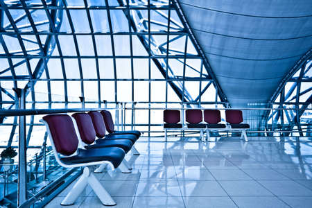 Waiting room with eight chairs, place in airport Stock Photo - 6033792