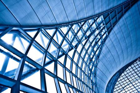 épület: Abstract blue wall interior background, horizontal left composition