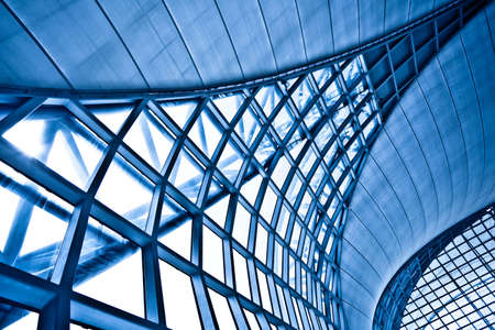 architecture backgrounds: Abstract blue wall interior background, horizontal left composition