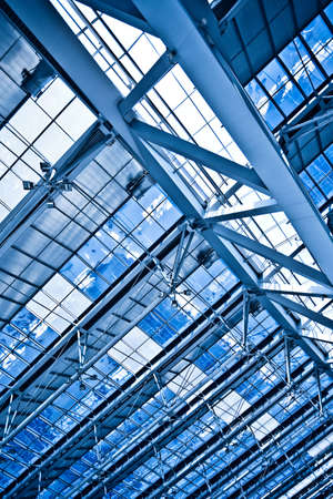 Abstract blue ceiling diagonal construction Stock Photo - 6307184