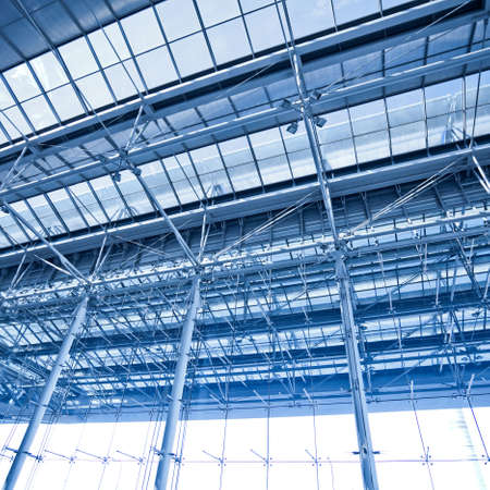 Abstract blue ceiling and wall construction Stock Photo - 6717379