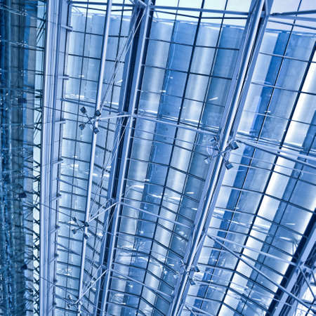 Abstract blue ceiling and wall construction, square composition Stock Photo - 6717380