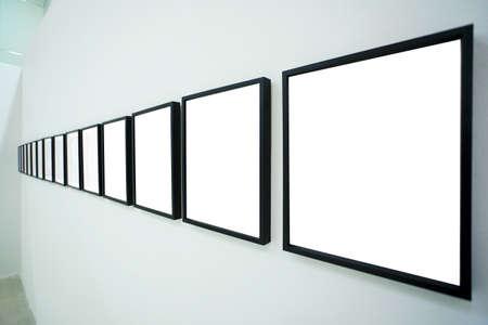 Nobody in the museum interior, empty frames Stock Photo