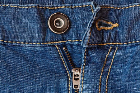 Jeans zipper and button close up photo