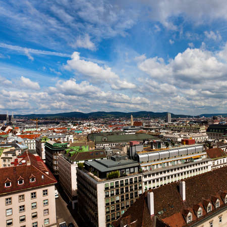 City view from St. Stephan cathedral roof, Vienna, Austria photo