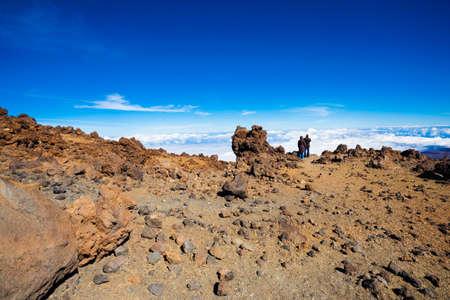 Couple on the top of Teide volcano, Tenerife island photo