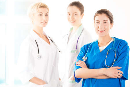 nursing staff: Nurse and two young doctors in hospital