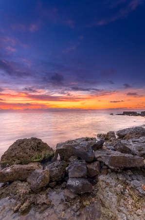 beautiful bright seascape after sunset photo