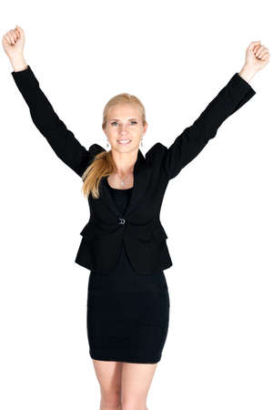 exultation: Happy businesswoman fist up attire on white background isolated Stock Photo