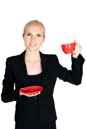 stoppage: Smile businesswoman with red teacup and attire isolated on white bacground