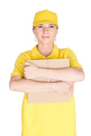 courier: Smile woman courier hold box isolated Stock Photo